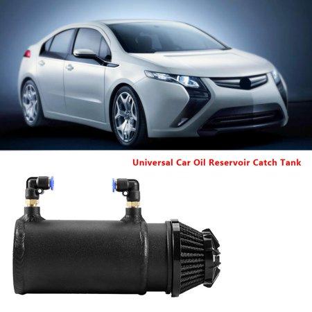 Universal Oil Catch Tank,Fosa Black Universal Car Oil Reservoir Catch Can Tank Kit Breather Filter Baffled Aluminum, Oil Catch Tank Breather