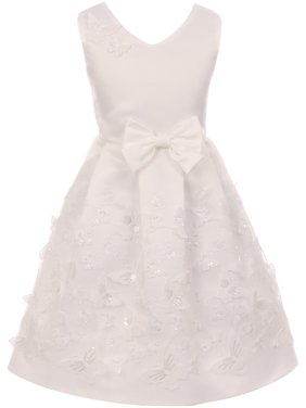 99c6a521f Product Image Little Girls V Neck Satin Top Butterfly Mesh Lace Bow Flower  Girl Dress USA Off White. Product TitleBluNight CollectionLittle ...