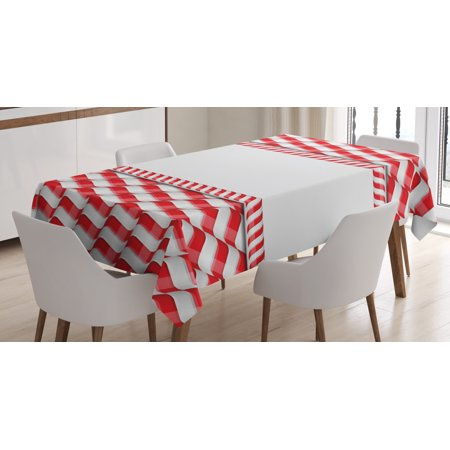 Candy Cane Tablecloth, Horizontal Border Design with Abstract Traditional Food Pattern Taste of Xmas, Rectangular Table Cover for Dining Room Kitchen, 60 X 84 Inches, Red White, by Ambesonne ()