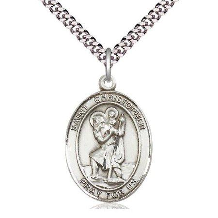 "Bliss St. Christopher Patron Saint Medal in Sterling Silver with 24"" Light Rhodium Heavy Curb Chain"
