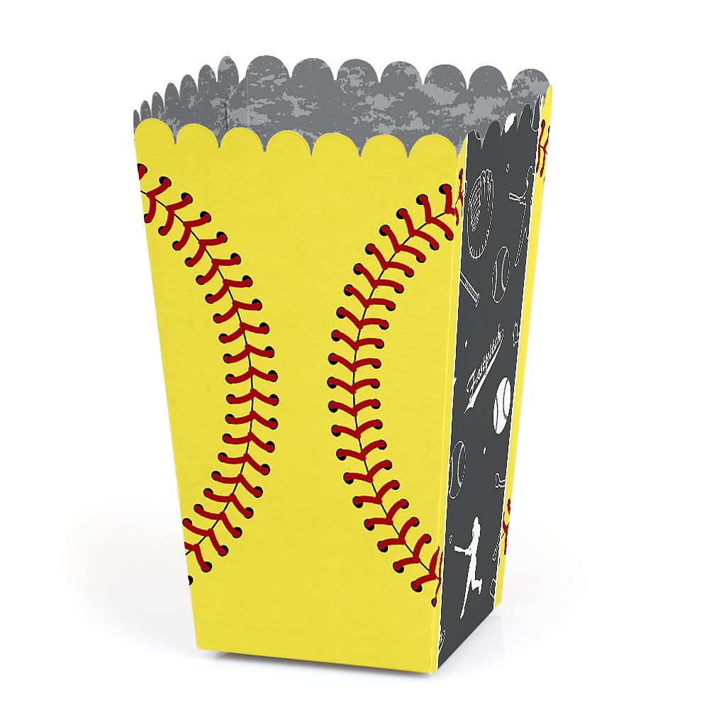 Grand Slam - Fastpitch Softball - Birthday Party or Baby Shower Favor Popcorn Treat Boxes - Set of 12