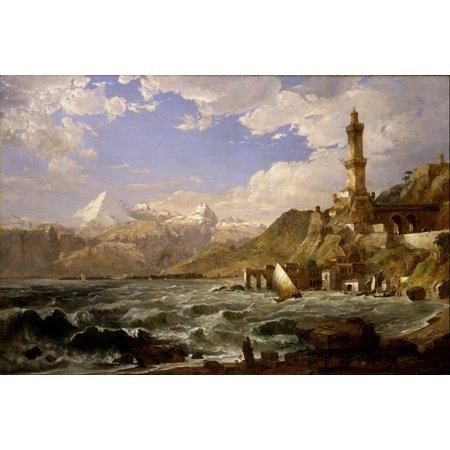 Laminated Poster Ocean Sea Mountains Jasper Cropsey Ships Water Poster Print 11 x 17