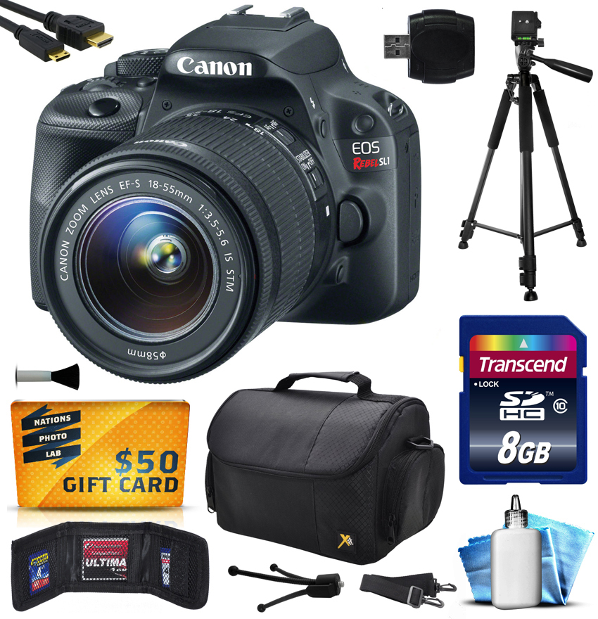 Canon EOS Rebel SL1 (100D) Digital SLR with 18-55mm STM Lens includes 8GB Memory + Large Case + Tripod + Card Reader + Card Wallet + HDMI Mini Cable + Cleaning Kit + $50 Gift Card 8575B003