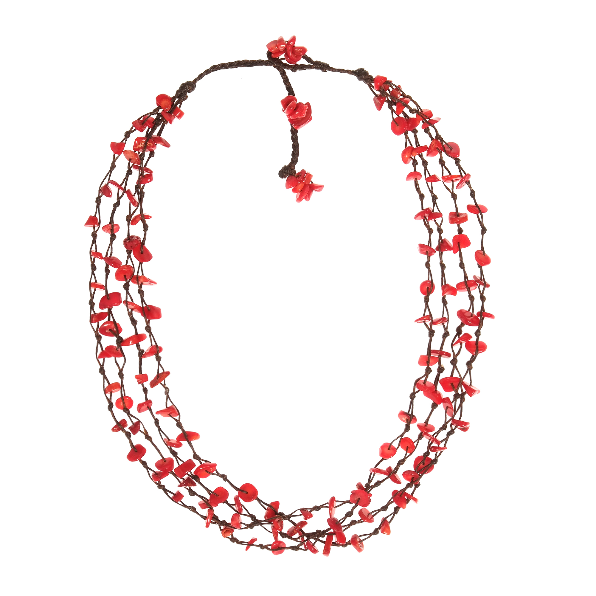 Synthetic Coral Cotton Wax Rope Beauty Multistrand Toggle Red Necklace