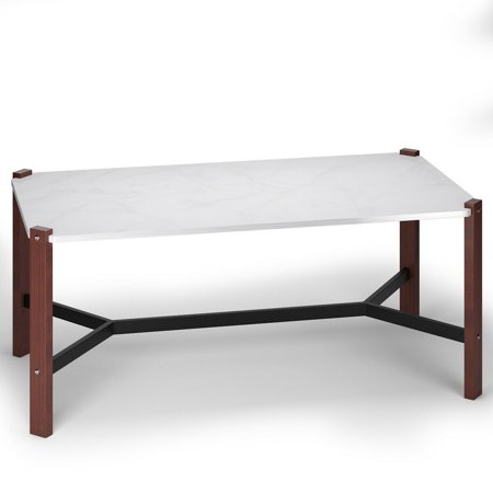Gymax Coffee Table Accent Cocktail Table White Faux Marble Top Living Room Furniture ()
