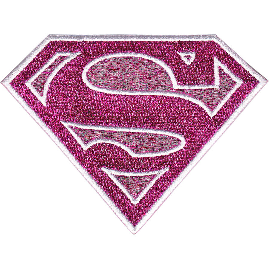 "DC Comics Patch, Pink Sparkle Supergirl Logo, 3.75"" x 3"""