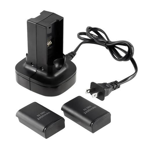 Insten Dual Battery Charger Dock Charging Station with Free 2-pack Rechargeable Battery For Xbox360 Microsoft Xbox 360 Remote Controller