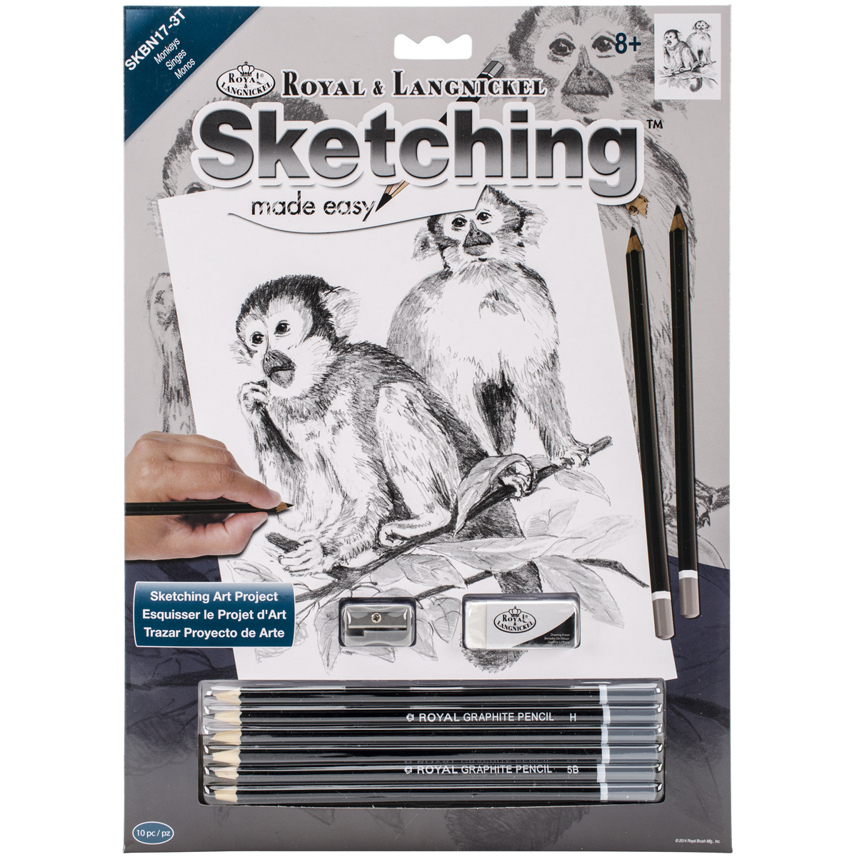Royal Brush Sketching Made Easy Kit, 9-Inch by 12-Inch, Monkeys Multi-Colored