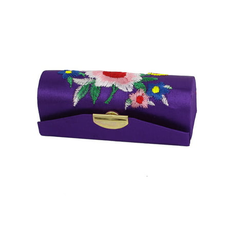 Lipstick Case Mirror (Women Floral Embroidered Purple Lipstick Lip Stick Case Holder Box w Mirror )