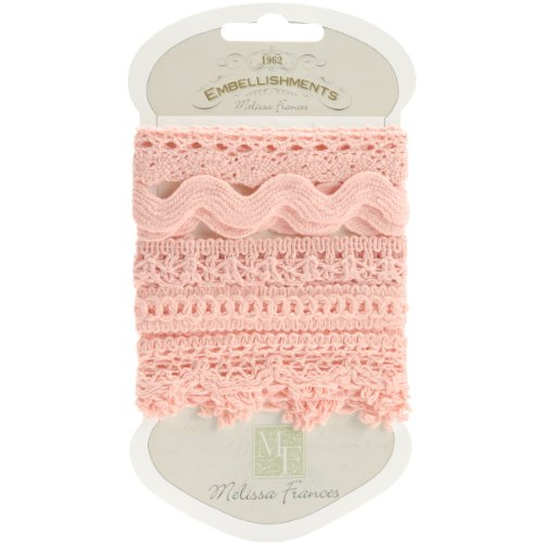 Melissa Frances 5-Style Craft Lace Trim, 18-Inch, Pink Multi-Colored