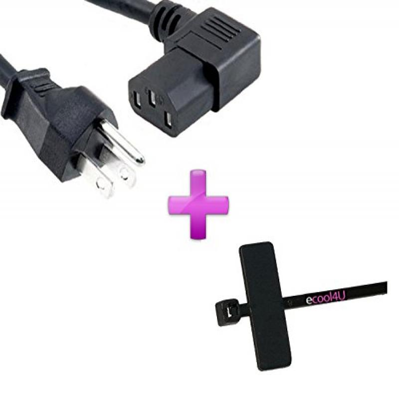 90 Degree 3 Prong AC Power Cord Cable For Panasonic TCP42C2 TCP46C2 TCP46S2 TCP54S2 Plasma HD TV + eCool4U Cable Tie