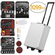 1099pcs Tool Kit Tool Set Aluminum Portable Case Mechanics Kit Box Organizer,Silver