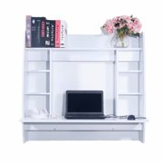 Akoyovwerve White Laptop Computer Desk With hutch,Laptop Computer Table for Small Place Wall Built-up Room-saving