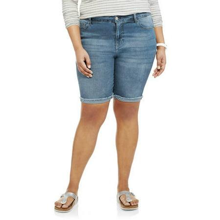 Angels Women's Plus Embellished Pocket Bermuda Shorts With Raw Cuffed Hem