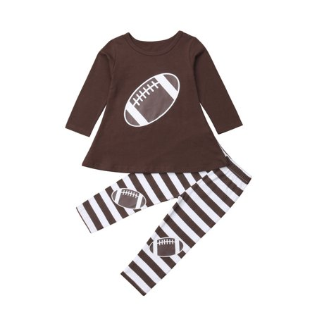 Girls Football Outfits (Kids Baby Girl Football Dress Casual Top T shirt +Pants Leggings Outfit)