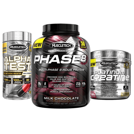 Muscletech Power Stack - Protein Powder (Choice of Flavor), Test Booster, (Best Protein Powder With Creatine)