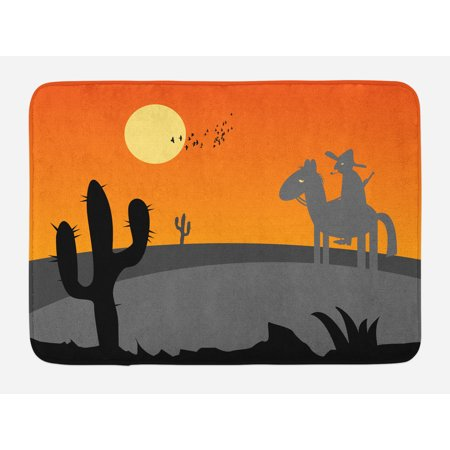 (Southwestern Bath Mat, Cartoon Style Hot Mexico Desert Landscape with Saguaro Cactus and Horse Rider, Non-Slip Plush Mat Bathroom Kitchen Laundry Room Decor, 29.5 X 17.5 Inches, Multicolor, Ambesonne)