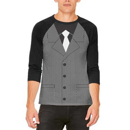 Halloween 20's Gangster Costume Mens Raglan T Shirt - 20s Gangster Halloween Costume