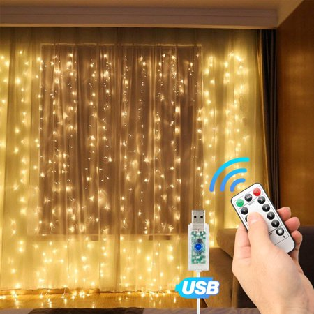 EEEKit Window Curtain String Lights,300 LED USB Powered String Lights,8 Lighting Remote Control Timer,Waterproof Decorative Lights for Wedding, Homes, Party, Bedroom (9.8x9.8 Ft) ()