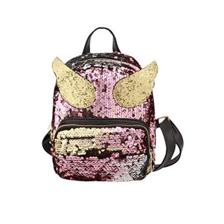 2dc364767af0 Liliam Girls Cute Sequin Winged Backpack Daypack Satchel Shoulder Travel  Bag Party Mini BagPink2