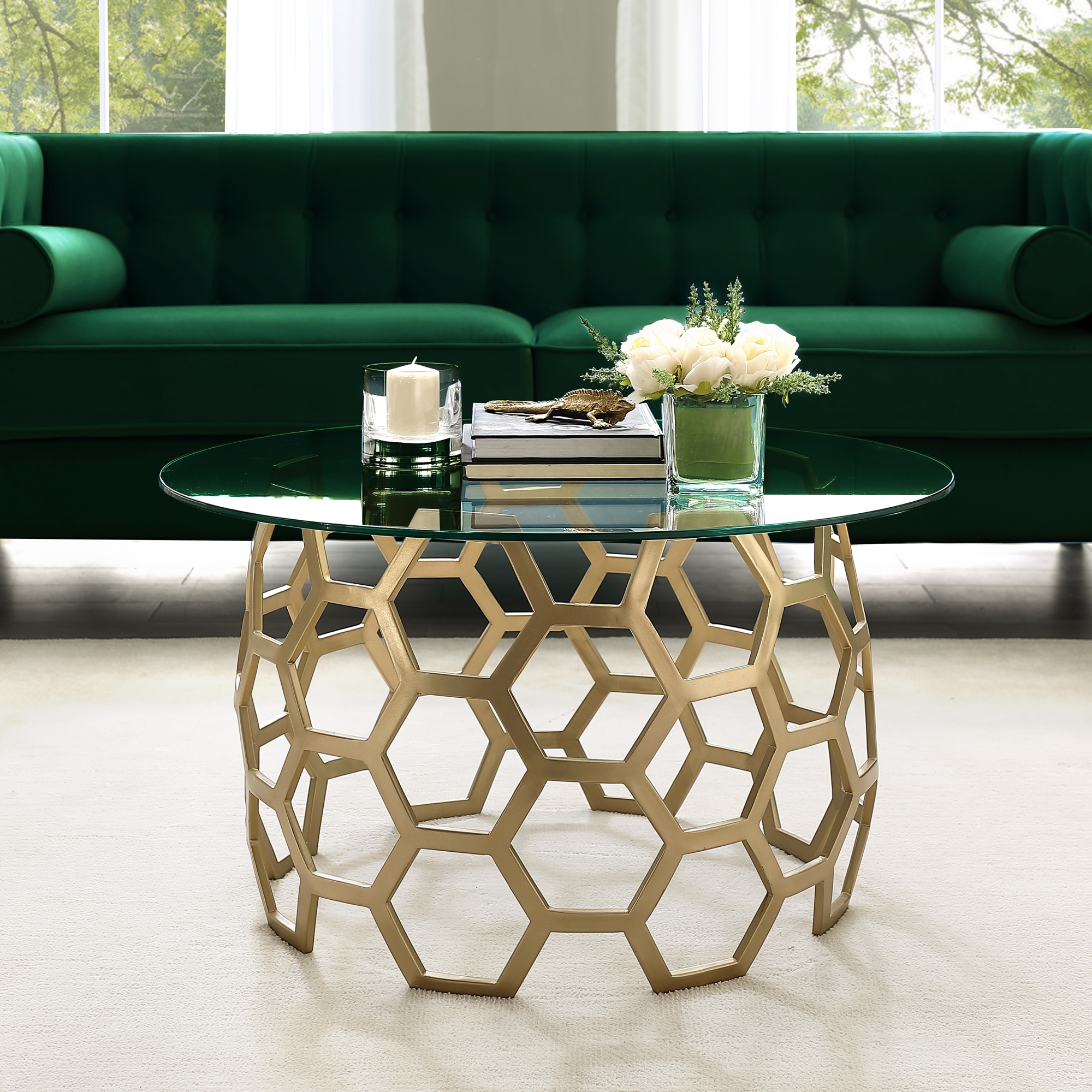 Picture of: Inspired Home Janina Round Coffee Table Clear Glass Top Geometric Hexagon Metal Frame Modern Gold Walmart Com Walmart Com