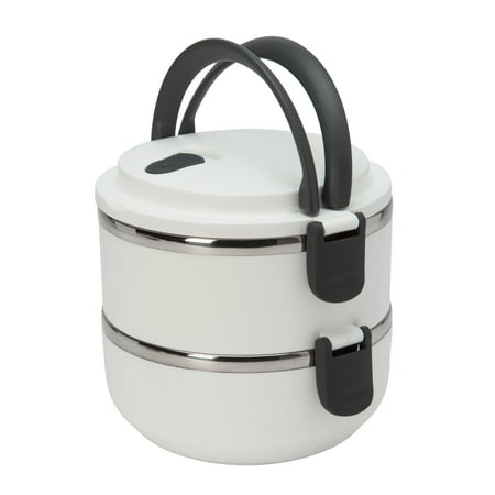 - Kitchen Details Round 2 Tier Stainless Steel Insulated Lunch Box (Dims: 5.9 x 5.9in - 1.4L)