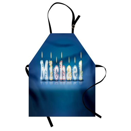 Michael Apron Kids Boys Name Letter Design for Delicious Birthday Party Cake Decoration, Unisex Kitchen Bib Apron with Adjustable Neck for Cooking Baking Gardening, Blue and Multicolor, by Ambesonne