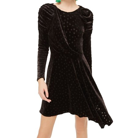 TopShop Womens Velvet Polka Dot Asymmetic Sheath Dress