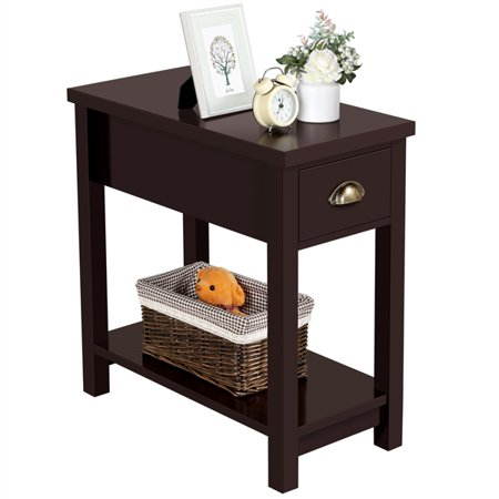 Wooden Side Table Nightstand For Living Room Bedroom Reddish Brown ()