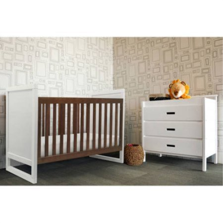 Two Tone 2 In 1 Convertible Crib Walnut And White Color Modern Nursery Daybed
