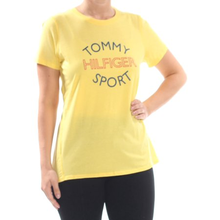 TOMMY HILFIGER Womens Yellow Tommy Sport Graphic Short Sleeve Top  Size: L (Tommy Hilfiger Tunic)