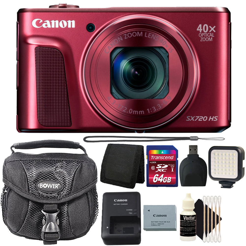 Canon PowerShot SX720 HS 20.3MP 40X Zoom Built-In Wifi / NFC Full HD 1080p Point and Shoot Digital Camera Red with 64GB Accessory Kit