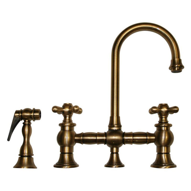 Whitehaus Vintage III WHKBCR3-9106 Double Handle Bar Faucet with Side Spray - Brushed Nickel