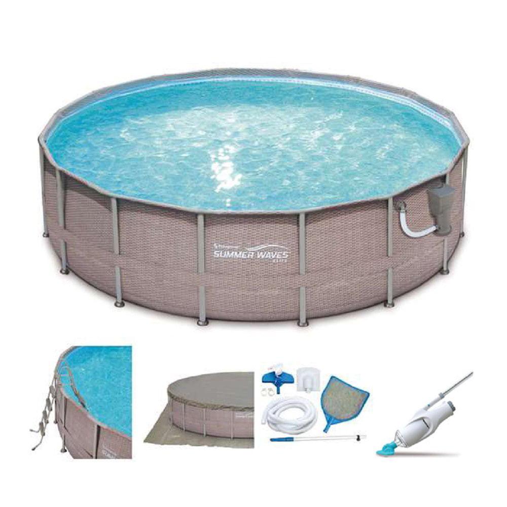 "Summer Waves Elite Wicker Print 18' x 48"" Frame Pool Set with Pump + Cleaner"