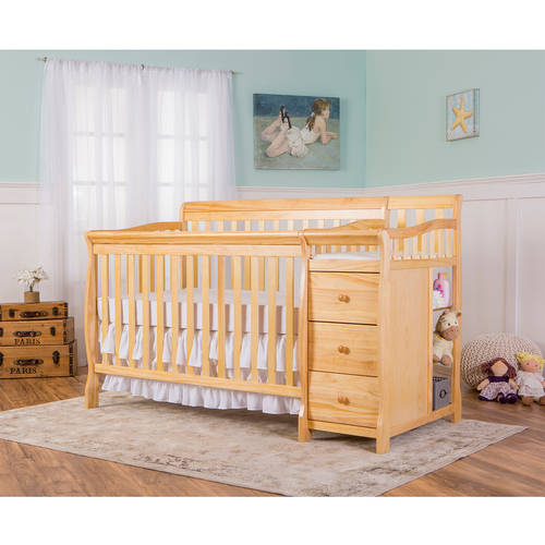 Dream on Me Brody 4-in-1 Convertible Fixed-Side Crib with Changer, Natural