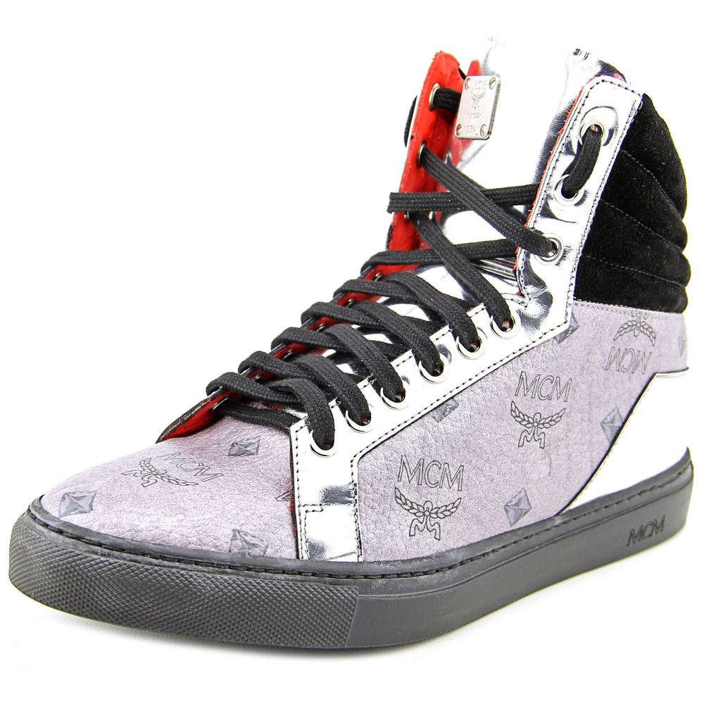 MCM Men Carryover Highto   Round Toe Leather  Sneakers