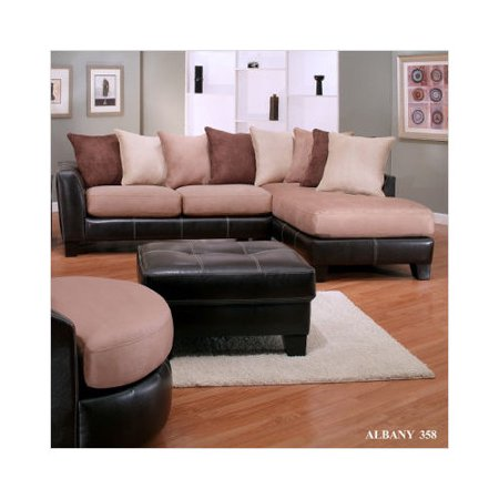 Bundle 51 albany oxford bonded leather and microfiber for Albany saturn sectional sofa chaise