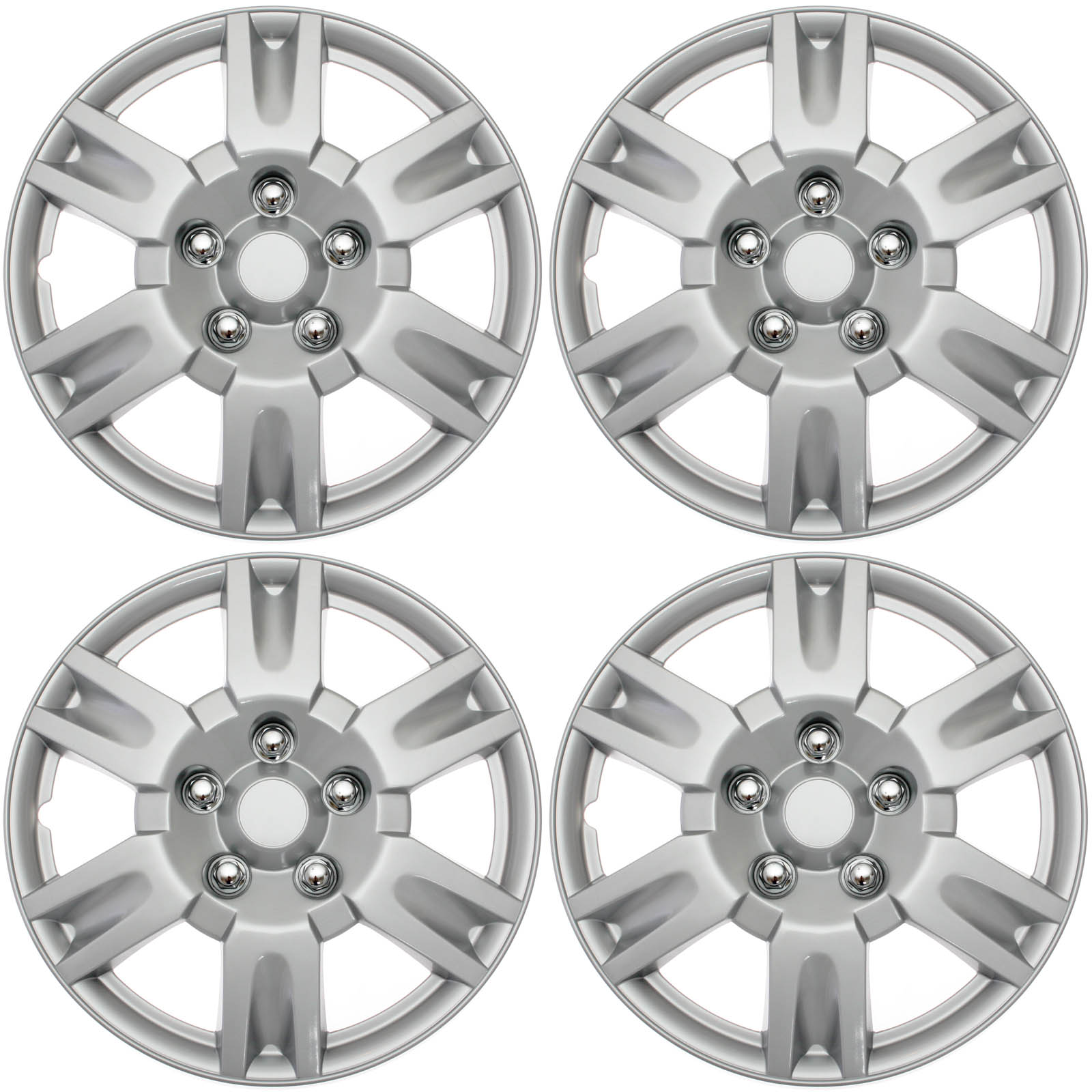 """Cover Trend (Set of 4) Silver Lacquer 15"""" Inch Aftermarket Nissan Altima Replica Hubcaps Wheel Covers"""