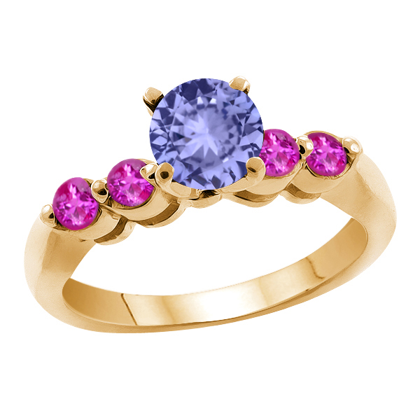 1.22 Ct Round Blue Tanzanite Pink Sapphire 18K Yellow Gold Engagement Ring by