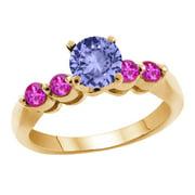1.22 Ct Round Blue Tanzanite Pink Sapphire 14K Yellow Gold Engagement Ring