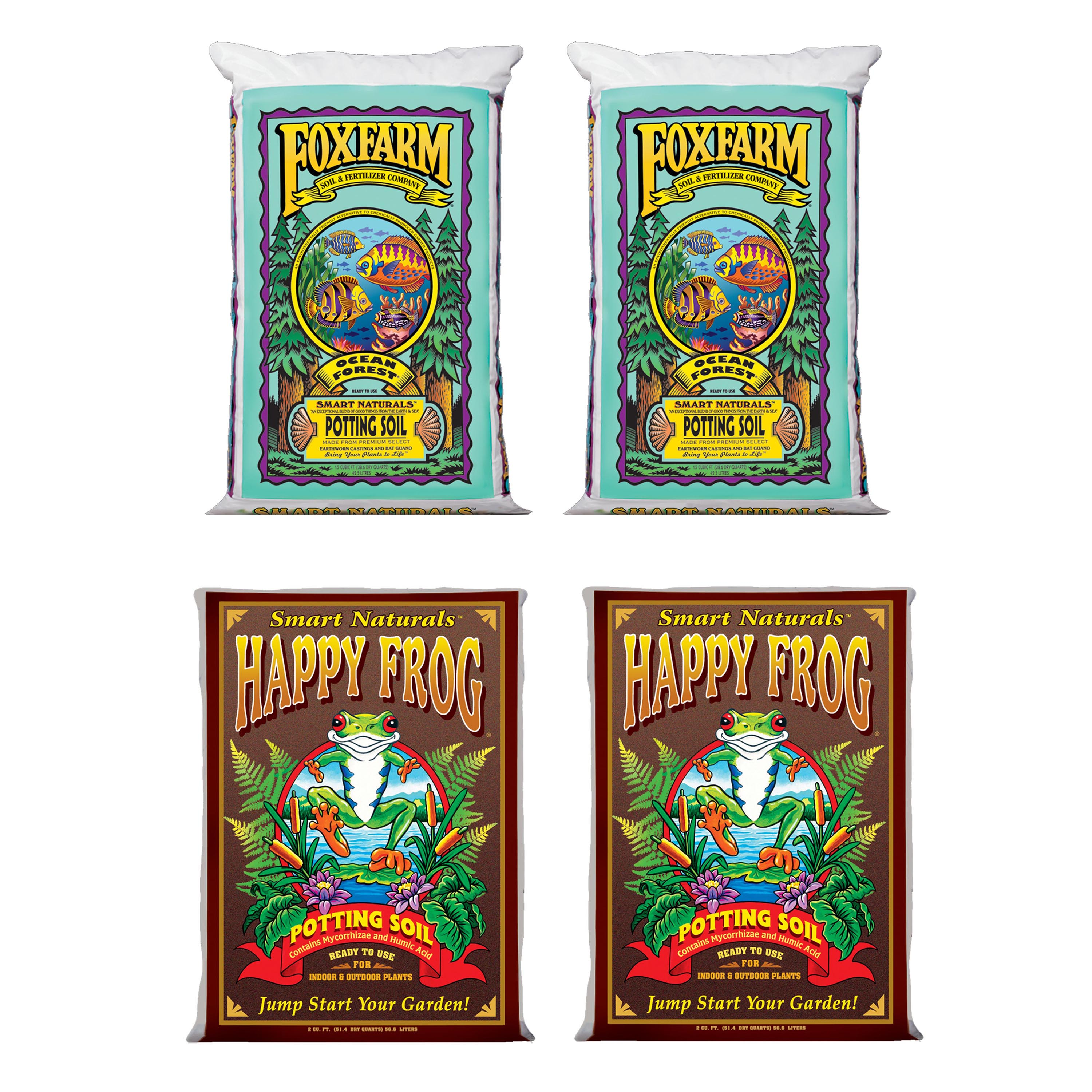 FoxFarm Ocean Forest Garden Soil Mix (2) + Happy Frog Organic Pot Soil Mix (2)