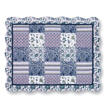 Christina Blue & Lavender Floral Paisley Patchwork Pillow - Baby Sam Paisley Splash