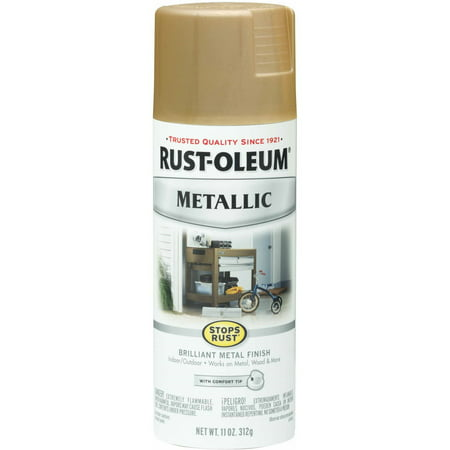 (3 Pack) Rust-Oleum Stops Rust Vintage Metallic Spray Paint, Warm Gold ()