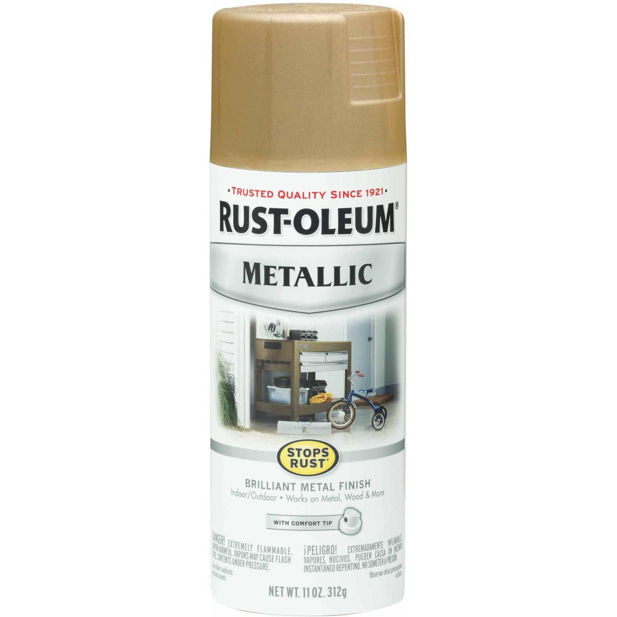 (3 Pack) Rust-Oleum Stops Rust Vintage Metallic Spray Paint, Warm Gold