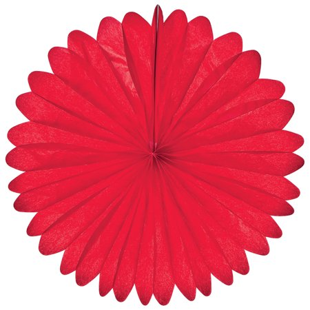 Hanging Paper Fan (19-Inch, Red) - Rice Paper Honeycomb Decorations - For Home Decor, Parties, and - Red Party Decorations