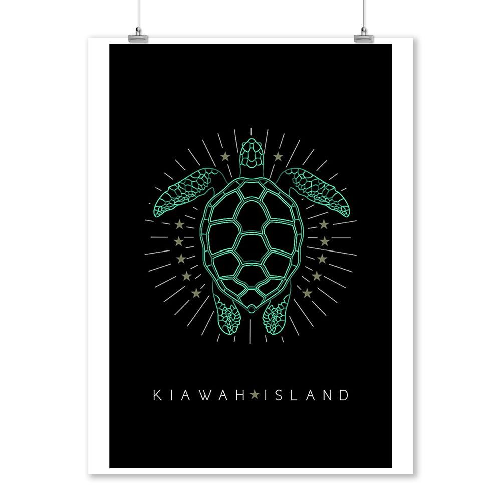 Kiawah Island, South Carolina - Neon Turtle - Lantern Press Artwork (9x12 Art Print, Wall Decor Travel Poster)