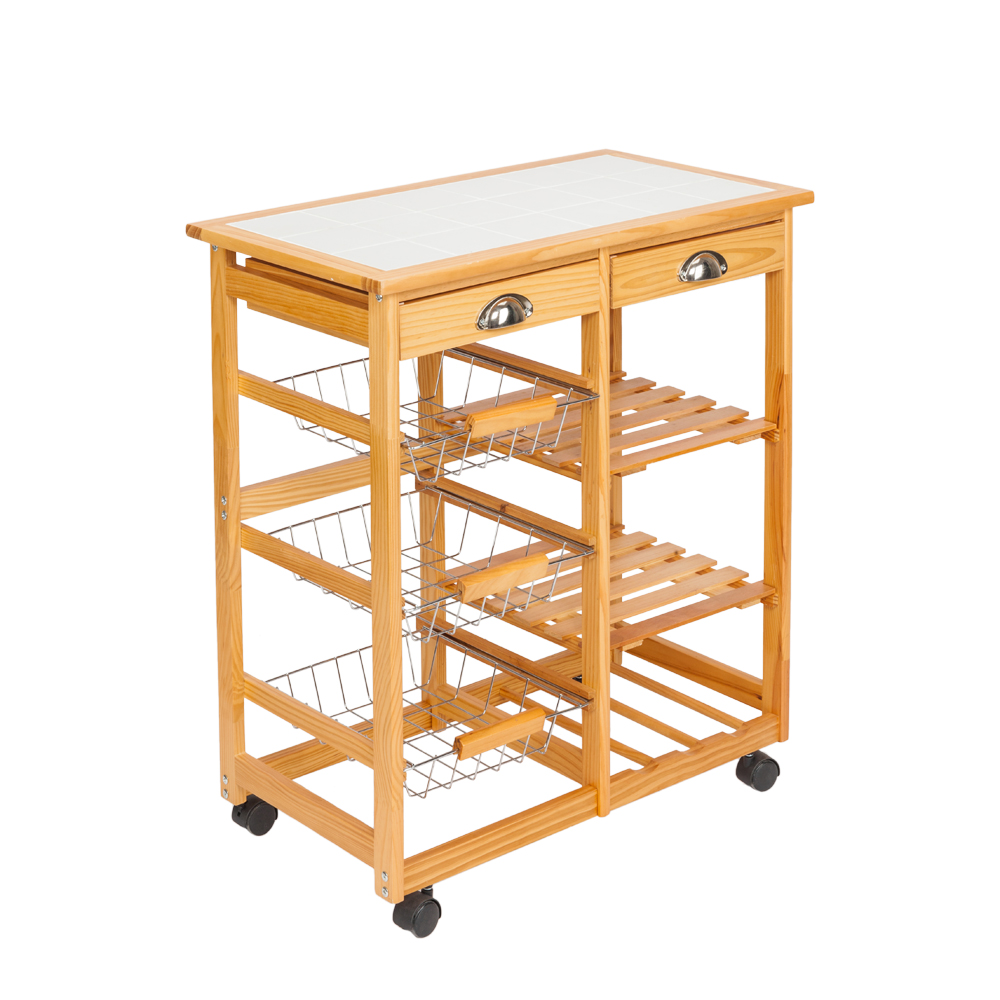 Rolling Serving Cart with 2 Drawer Adjustable Leveling Feet for Kitchen and Office Organization Portable Storage Unit