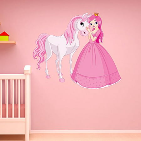 Princess and Horse Wall Decal - Wall Sticker, Vinyl Wall Art, Home Decor, Wall Mural - SD3056 - 16x14 ()