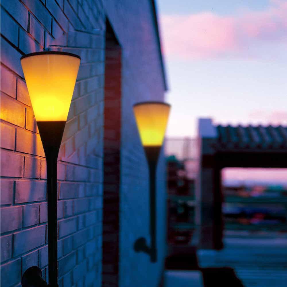 Zimtown 2Pack LED Solar Torch Light Flickering Flame Table Lantern Garden Spotlight Wall Light