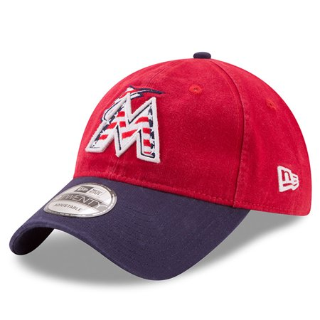 Miami Marlins New Era 2017 Stars & Stripes 9TWENTY Adjustable Hat - Red/Navy - OSFA - Miami Heat Halloween 2017